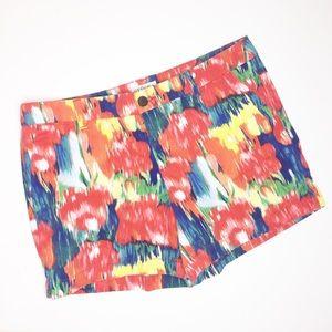 Merona shorts watercolor floral vibrant red blue 8